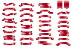 Διανυσματικές κόκκινες κορδέλλες εμβλημάτων Σύνολο 34 κορδελλών Στοκ Εικόνα