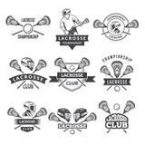 Διανυσματικές λογότυπα ή ετικέτες για την ομάδα λακρός στο αθλητικό κολλέγιο ελεύθερη απεικόνιση δικαιώματος