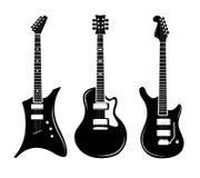 Διανυσματικές μαύρες ακουστικές και ηλεκτρικές κιθάρες εικονιδίων κιθάρων διανυσματική απεικόνιση