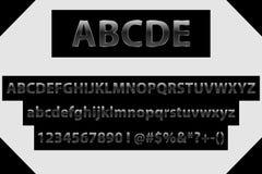Διανυσματικές μαύρες επιστολές, αριθμοί και σύμβολα αλφάβητου Μεταλλική πηγή κλίσης Αποκλειστικές επιστολές αλφάβητου διανυσματική απεικόνιση