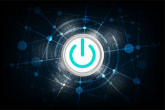 Διανυσματικές μεταβάσεις σε μια έννοια τεχνολογίας σε ένα σκούρο μπλε υπόβαθρο Στοκ εικόνες με δικαίωμα ελεύθερης χρήσης