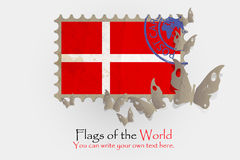 Διανυσματικές μετρήσεις σημαιών με τις πεταλούδες από το έγγραφο Στοκ Εικόνες