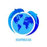 Διανυσματικές μπλε σκιαγραφίες δελφινιών γύρω από τη γη πέρα από το λευκό Στοκ Φωτογραφία
