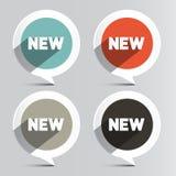 Διανυσματικές νέες ετικέτες κύκλων καθορισμένες Στοκ εικόνες με δικαίωμα ελεύθερης χρήσης