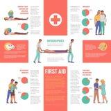 Διανυσματικές πρώτες βοήθειες, infographics έκτακτης ανάγκης απεικόνιση αποθεμάτων