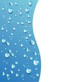 Διανυσματικές πτώσεις νερού στο μπλε υπόβαθρο Πρότυπο ESP 10 Στοκ Φωτογραφία