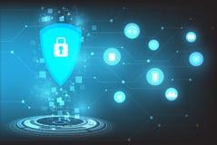 Διανυσματικές πληροφορίες τεχνολογικής ασφαλείας για το μπλε υπόβαθρο Στοκ Φωτογραφία