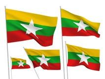 Διανυσματικές σημαίες της Βιρμανίας το Μιανμάρ Στοκ Φωτογραφίες