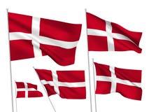 Διανυσματικές σημαίες της Δανίας Στοκ Εικόνες
