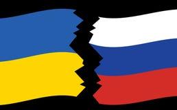 Διανυσματικές σημαίες της Ουκρανίας και της Ρωσίας - ρωγμή διανυσματική απεικόνιση