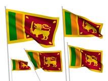 Διανυσματικές σημαίες της Σρι Λάνκα Στοκ Εικόνες