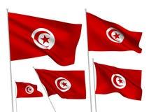 Διανυσματικές σημαίες της Τυνησίας Στοκ Φωτογραφίες