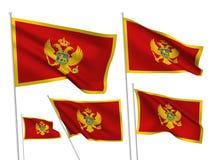 Διανυσματικές σημαίες του Μαυροβουνίου Στοκ φωτογραφίες με δικαίωμα ελεύθερης χρήσης
