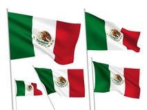 Διανυσματικές σημαίες του Μεξικού Στοκ Φωτογραφίες