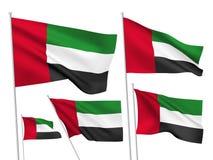 Διανυσματικές σημαίες των Ηνωμένων Αραβικών Εμιράτων Στοκ Φωτογραφίες