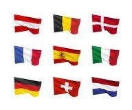 Διανυσματικές σημαίες δυτική Ευρώπη Στοκ φωτογραφία με δικαίωμα ελεύθερης χρήσης