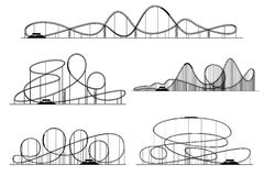 Διανυσματικές σκιαγραφίες ρόλερ κόστερ Rollercoaster ή λούνα παρκ κύλινδροι που απομονώνονται απεικόνιση αποθεμάτων