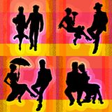 Διανυσματικές σκιαγραφίες στο θέμα του γάμου απεικόνιση αποθεμάτων