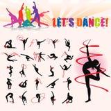 Διανυσματικές σκιαγραφίες της καλλιτεχνικής γυμναστικής ελεύθερη απεικόνιση δικαιώματος