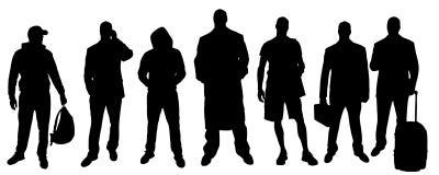 Διανυσματικές σκιαγραφίες των διαφορετικών ανθρώπων ελεύθερη απεικόνιση δικαιώματος