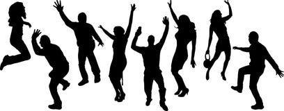 Διανυσματικές σκιαγραφίες των χορεύοντας ανθρώπων Στοκ Εικόνες