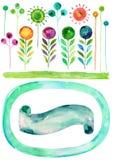Διανυσματικές συστάσεις watercolor διανύσματος, άνοιξης και καλοκαιριού Watercolor floral, συρμένο χέρι διακοσμητικό σύνολο Στοκ Εικόνες