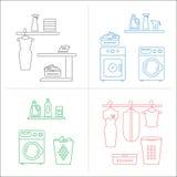 Διανυσματικές συλλογές δωματίων πλυντηρίων Στοκ Φωτογραφία