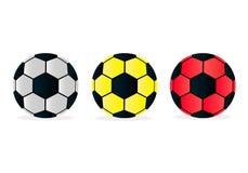 Διανυσματικές σφαίρες ποδοσφαίρου απεικόνισης καθορισμένες στο άσπρο υπόβαθρο απεικόνιση αποθεμάτων
