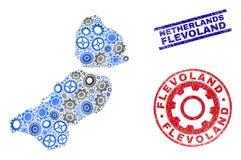 Διανυσματικές σφραγίδες χαρτών και Grunge επαρχιών του Flevoland κολάζ υπηρεσιών ελεύθερη απεικόνιση δικαιώματος