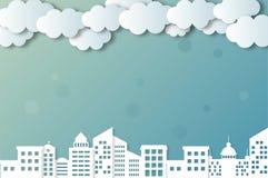 Διανυσματικές σύννεφα και πόλεις ελεύθερη απεικόνιση δικαιώματος