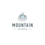 Διανυσματικές ταξίδι προτύπων λογότυπων βουνών και επιχείρηση περιπέτειας Υπαίθριο διακριτικό εξερευνητών Απεικόνιση του υπαίθριο Στοκ εικόνες με δικαίωμα ελεύθερης χρήσης