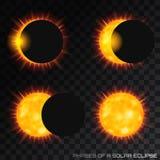 Διανυσματικές φάσεις της συνολικής ηλιακής έκλειψης στο διαφανές backgrou απεικόνιση αποθεμάτων
