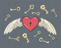 Διανυσματικές φτερά και καρδιά απεικόνιση αποθεμάτων