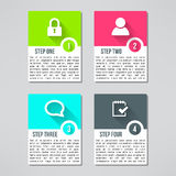 Διανυσματικές φωτεινές infographic κάρτες που τίθενται στο σύγχρονο επίπεδο Στοκ φωτογραφίες με δικαίωμα ελεύθερης χρήσης