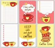 Διανυσματικές χαριτωμένες κάρτες Σημειώσεις, αυτοκόλλητες ετικέττες, ετικέτες, ετικέττες με τα αστεία φλυτζάνια και καρδιές Το σχ Στοκ Φωτογραφία