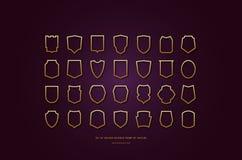 Διανυσματικές χρυσές χρωματισμένες κοίλες σκιαγραφίες ασπίδων αποθεμάτων στοκ εικόνες