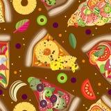 Διανυσματικές χρώματος άνευ ραφής φέτες πιτσών σχεδίων διαφορετικές Στοκ Φωτογραφία