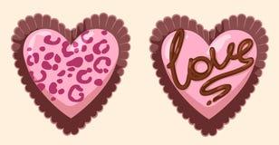 Διανυσματικές girly ρόδινες γοητευτικές καρδιά-διαμορφωμένες σοκολάτες από το κιβώτιο απεικόνιση αποθεμάτων