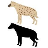 Διανυσματικές hyena και σκιαγραφία Στοκ Εικόνα