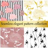 Διανυσματική άνευ ραφής κομψή συλλογή Χρυσές και floral συρμένες χέρι συστάσεις, τυπωμένες ύλες, υπόβαθρα διανυσματική απεικόνιση