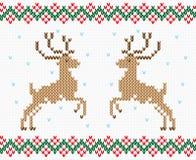 Διανυσματική άνευ ραφής σύσταση ελαφιών κεντητικής Χριστουγέννων απεικόνιση αποθεμάτων