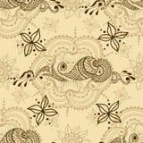 Διανυσματική άνευ ραφής σύσταση με τη floral διακόσμηση στο ινδικό ύφος Διακοσμητικό σχέδιο Mehndi Στοκ φωτογραφίες με δικαίωμα ελεύθερης χρήσης