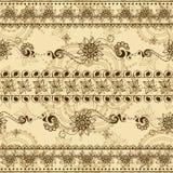 Διανυσματική άνευ ραφής σύσταση με τη floral διακόσμηση στο ινδικό ύφος Διακοσμητικό ριγωτό σχέδιο Mehndi Στοκ φωτογραφίες με δικαίωμα ελεύθερης χρήσης