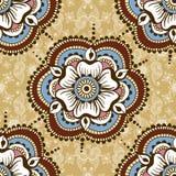 Διανυσματική άνευ ραφής σύσταση με τη floral διακόσμηση στο ινδικό ύφος Διακοσμητικό σχέδιο Mehndi Συρμένο χέρι εθνικό σχέδιο Στοκ Φωτογραφίες