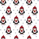Διανυσματική άνευ ραφής σύσταση σχεδίων με την τέχνη εικονοκυττάρου penguins και snowflakes Το χαριτωμένο διάνυσμα χειμερινών δια Στοκ Φωτογραφίες