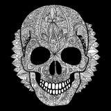 Διανυσματική άσπρη ημέρα κρανίων της νεκρής απεικόνισης Στοκ εικόνες με δικαίωμα ελεύθερης χρήσης