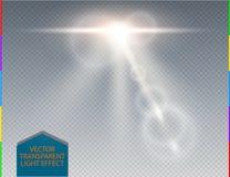 Διανυσματική άσπρη διαφανής ειδική ελαφριά επίδραση φλογών φακών οριζόντων Αφηρημένη ακτίνα πυράκτωσης ήλιων θαμπάδων με το επίκε Στοκ Εικόνες