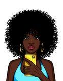 Διανυσματική έγχρωμη εικονογράφηση μιας γυναίκας αφροαμερικάνων που κάνει selfie Απεικόνιση αποθεμάτων