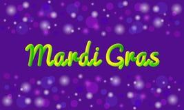 Διανυσματική έμβλημα ή ευχετήρια κάρτα θέματος της Mardi Gras τρισδιάστατο κείμενο επίδρασης Παραδοσιακά ιώδη, πράσινα, κίτρινα χ Στοκ Εικόνες