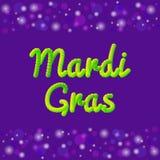 Διανυσματική έμβλημα ή ευχετήρια κάρτα θέματος της Mardi Gras τρισδιάστατο κείμενο επίδρασης Παραδοσιακά ιώδη, πράσινα, κίτρινα χ Στοκ φωτογραφίες με δικαίωμα ελεύθερης χρήσης